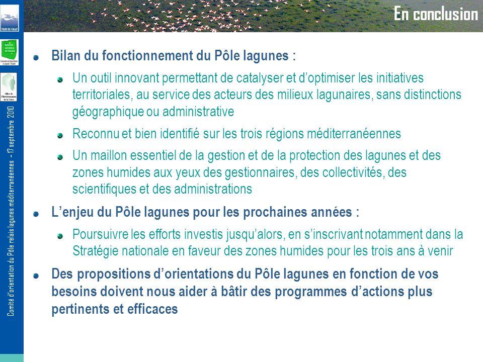 En conclusion Bilan du fonctionnement du Pôle lagunes :
