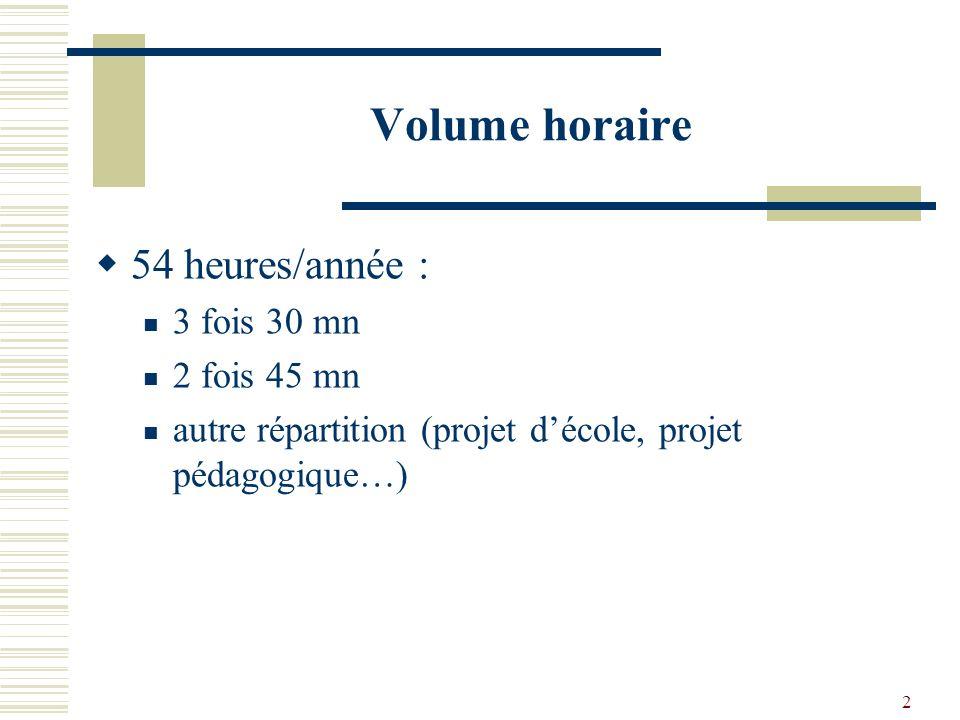 Volume horaire 54 heures/année : 3 fois 30 mn 2 fois 45 mn