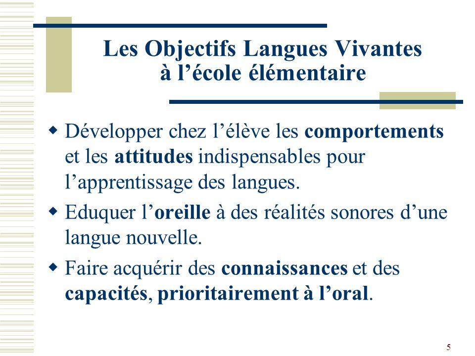 Les Objectifs Langues Vivantes à l'école élémentaire