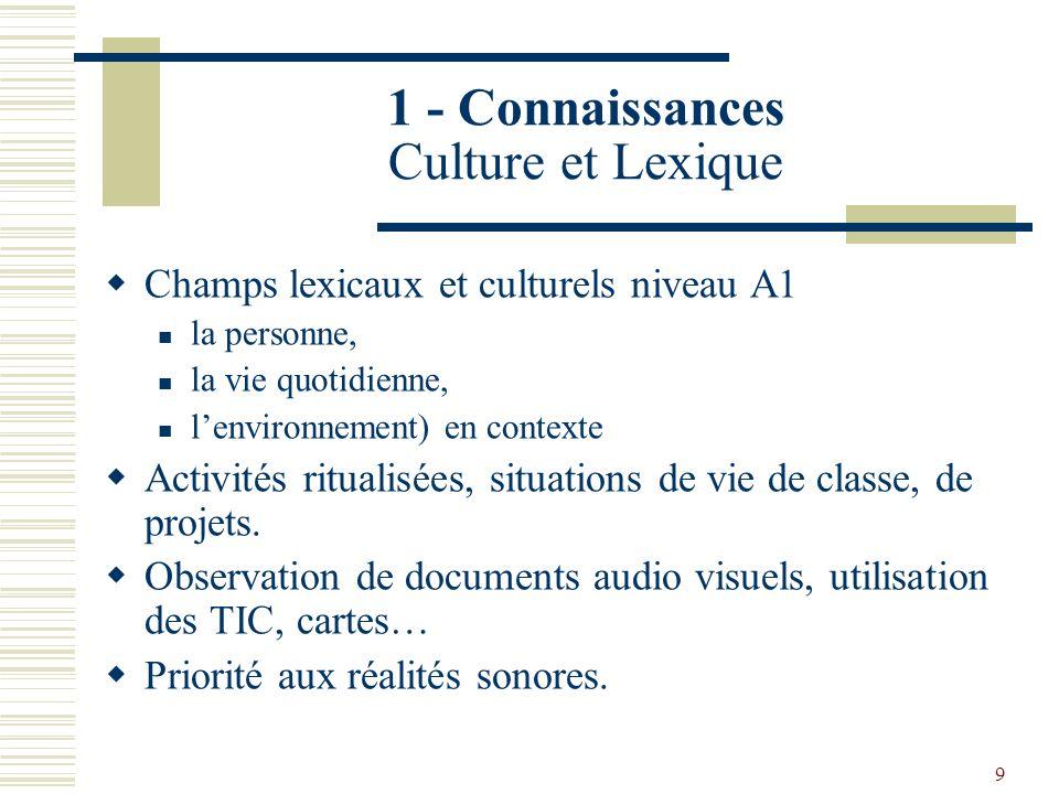 1 - Connaissances Culture et Lexique
