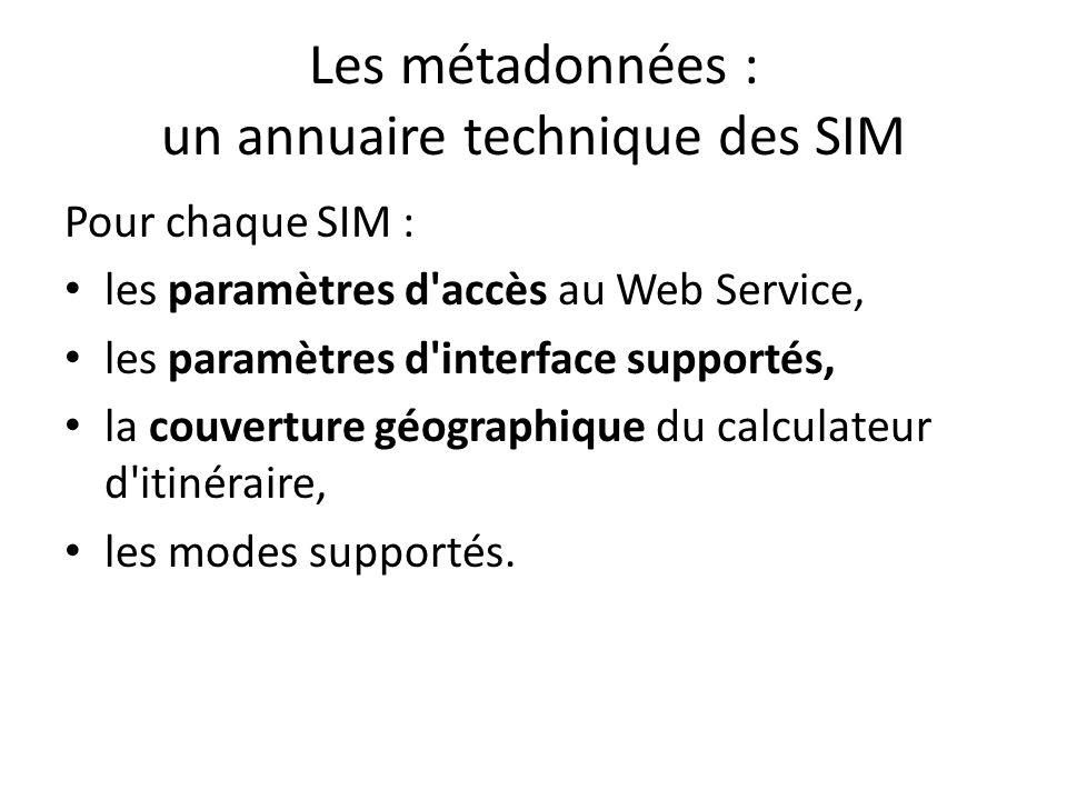 Les métadonnées : un annuaire technique des SIM