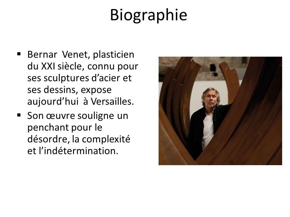 Biographie Bernar Venet, plasticien du XXI siècle, connu pour ses sculptures d'acier et ses dessins, expose aujourd'hui à Versailles.