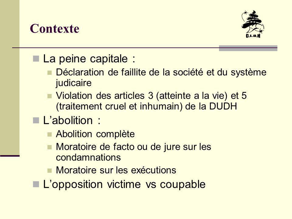 Contexte La peine capitale : L'abolition :