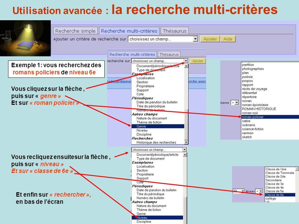 Utilisation avancée : la recherche multi-critères