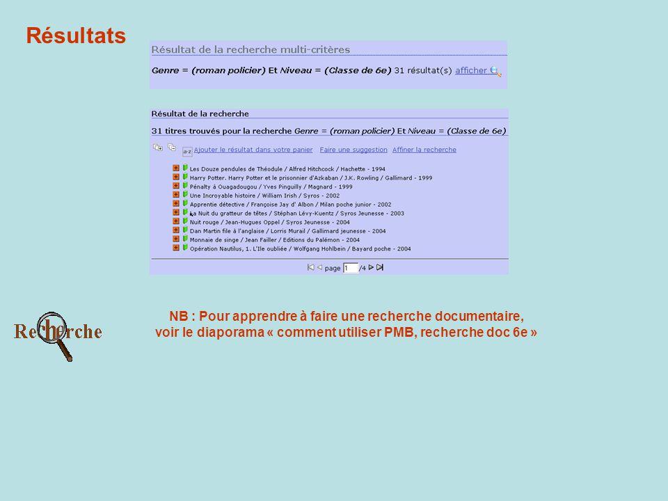 Résultats NB : Pour apprendre à faire une recherche documentaire, voir le diaporama « comment utiliser PMB, recherche doc 6e »
