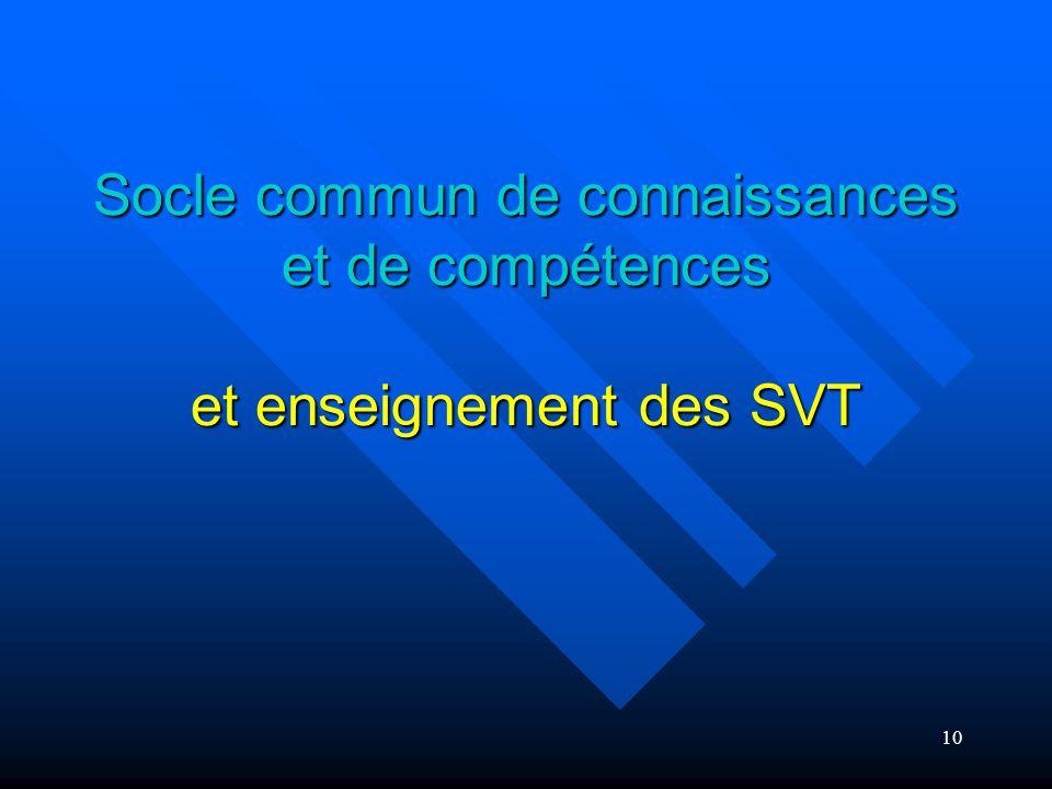 Socle commun de connaissances et de compétences et enseignement des SVT