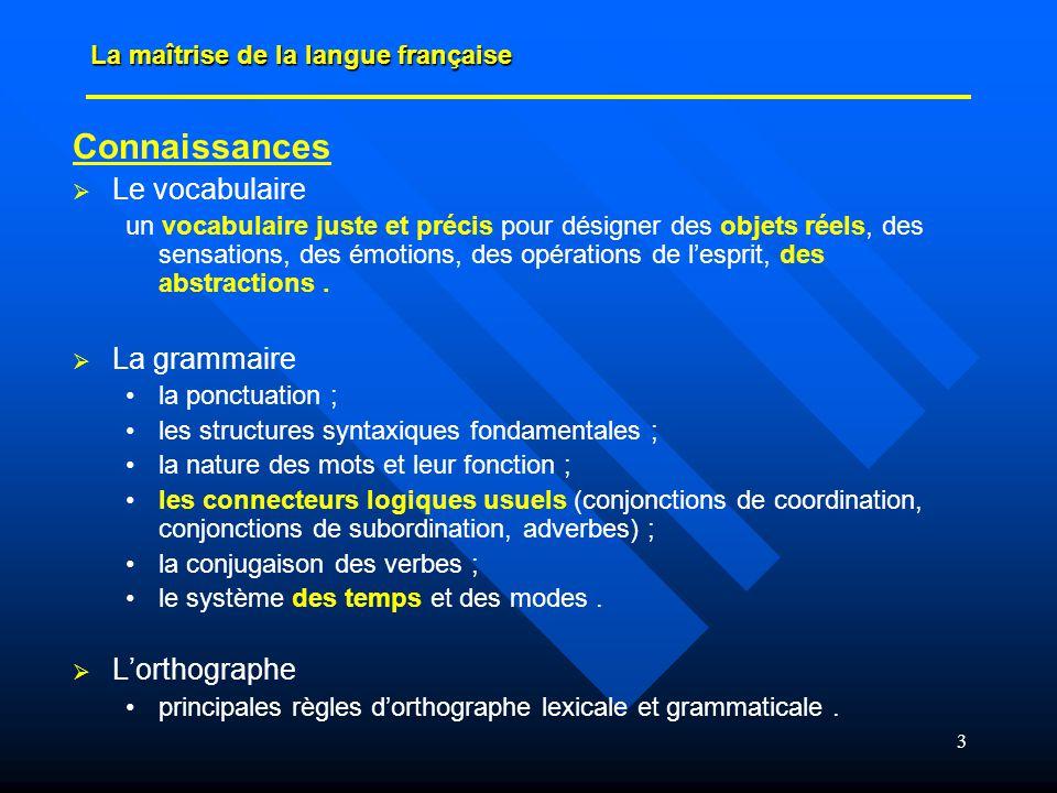 Connaissances Le vocabulaire La grammaire L'orthographe