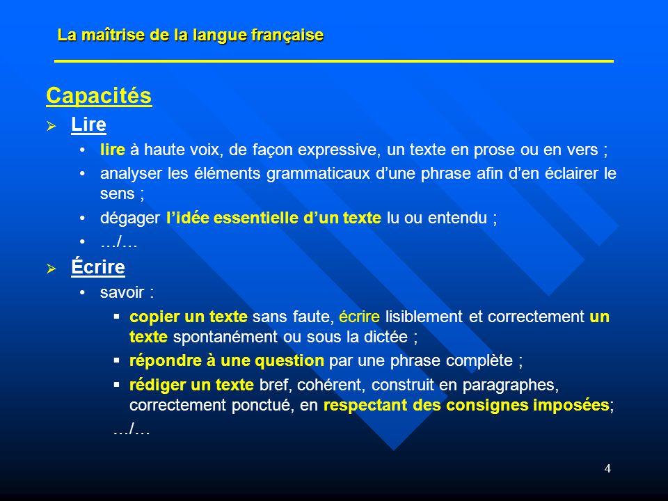 Capacités Lire Écrire La maîtrise de la langue française