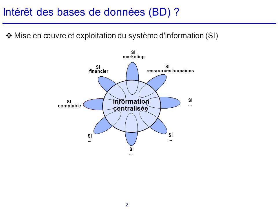 Intérêt des bases de données (BD)