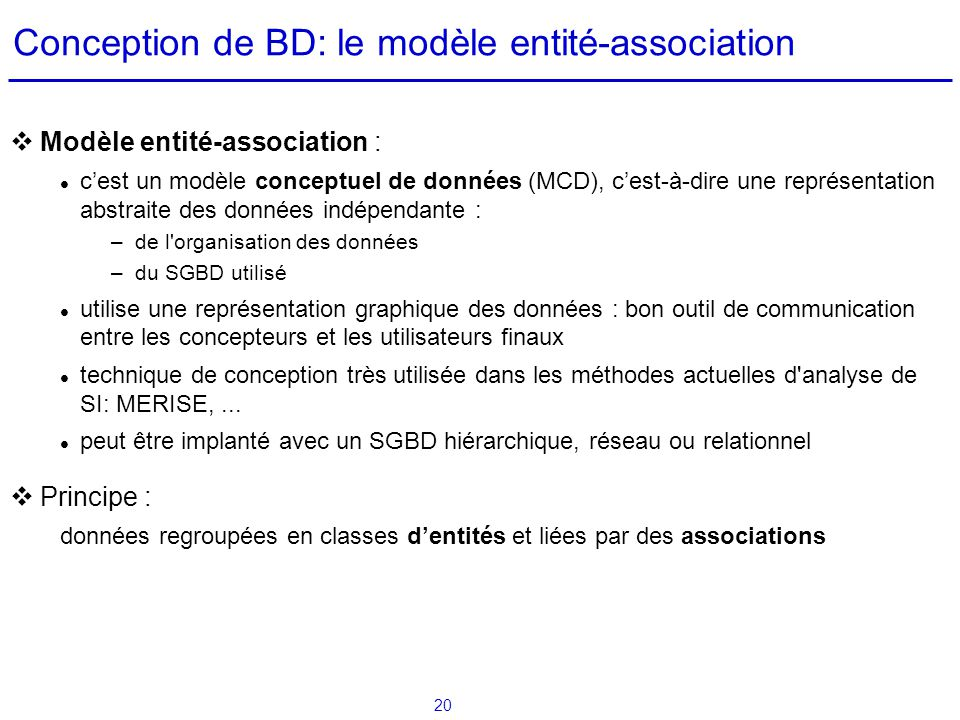Conception de BD: le modèle entité-association