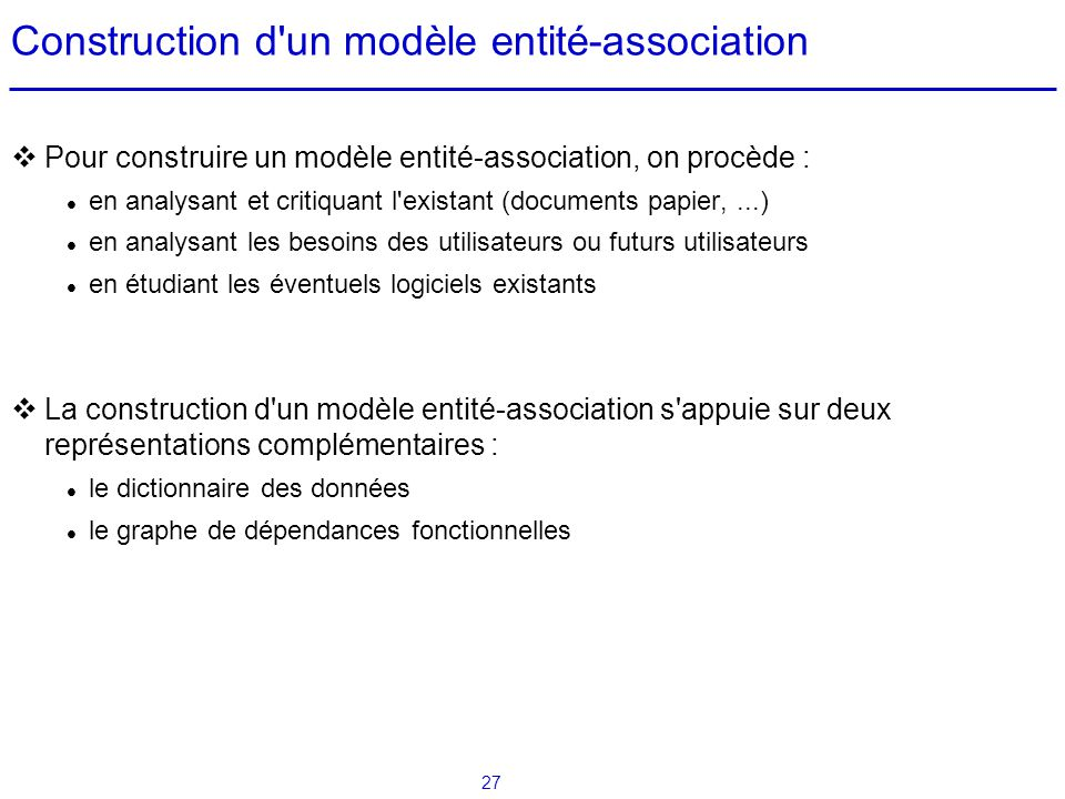 Construction d un modèle entité-association