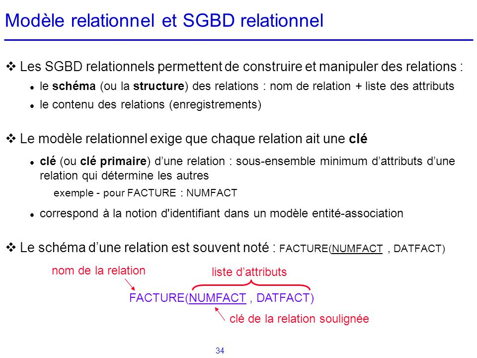 Modèle relationnel et SGBD relationnel
