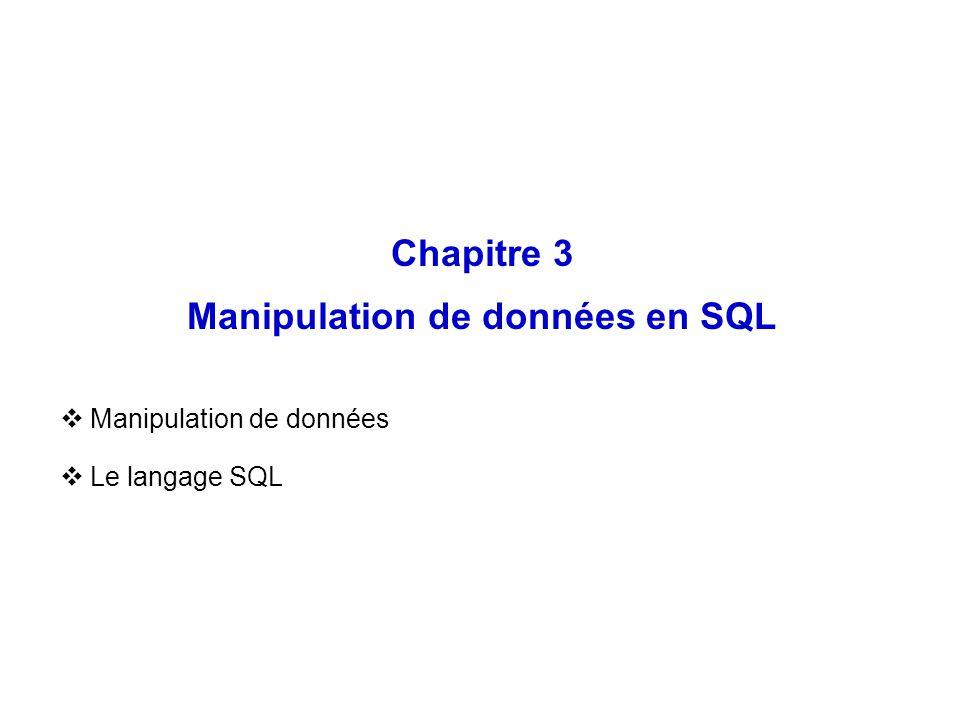 Chapitre 3 Manipulation de données en SQL