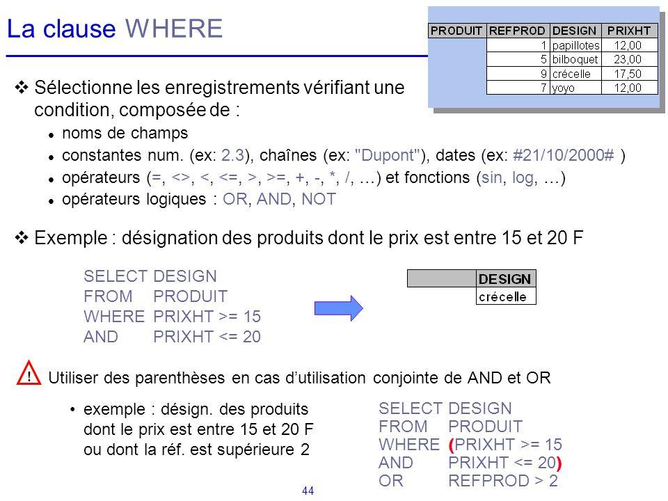 La clause WHERE Sélectionne les enregistrements vérifiant une condition, composée de : noms de champs.