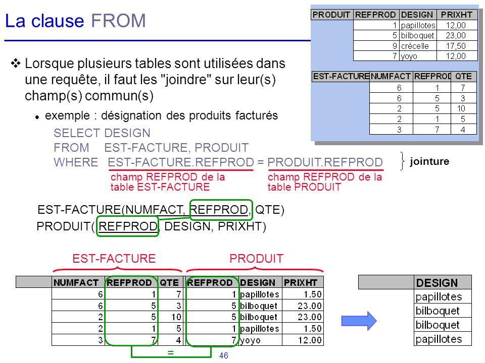 La clause FROM Lorsque plusieurs tables sont utilisées dans une requête, il faut les joindre sur leur(s) champ(s) commun(s)