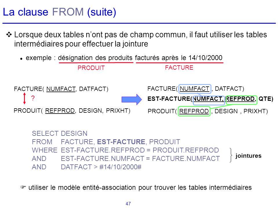 La clause FROM (suite) Lorsque deux tables n'ont pas de champ commun, il faut utiliser les tables intermédiaires pour effectuer la jointure.
