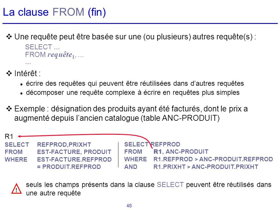 La clause FROM (fin) Une requête peut être basée sur une (ou plusieurs) autres requête(s) : Intérêt :