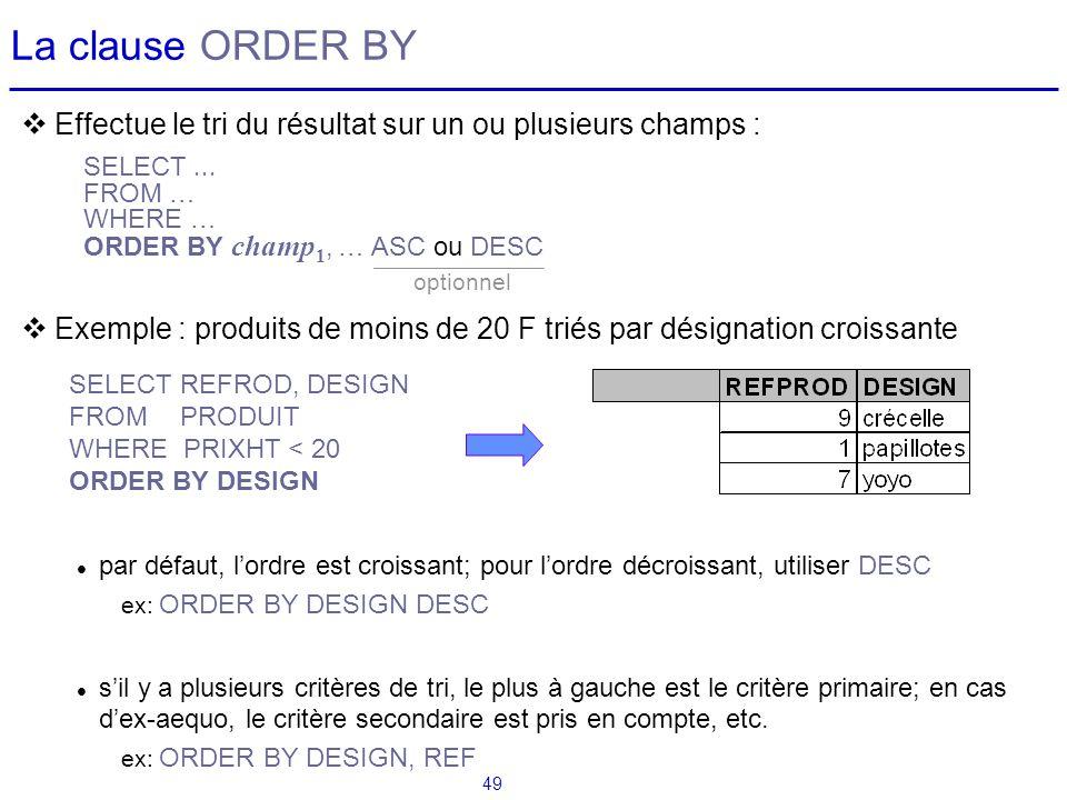 La clause ORDER BY Effectue le tri du résultat sur un ou plusieurs champs : Exemple : produits de moins de 20 F triés par désignation croissante.