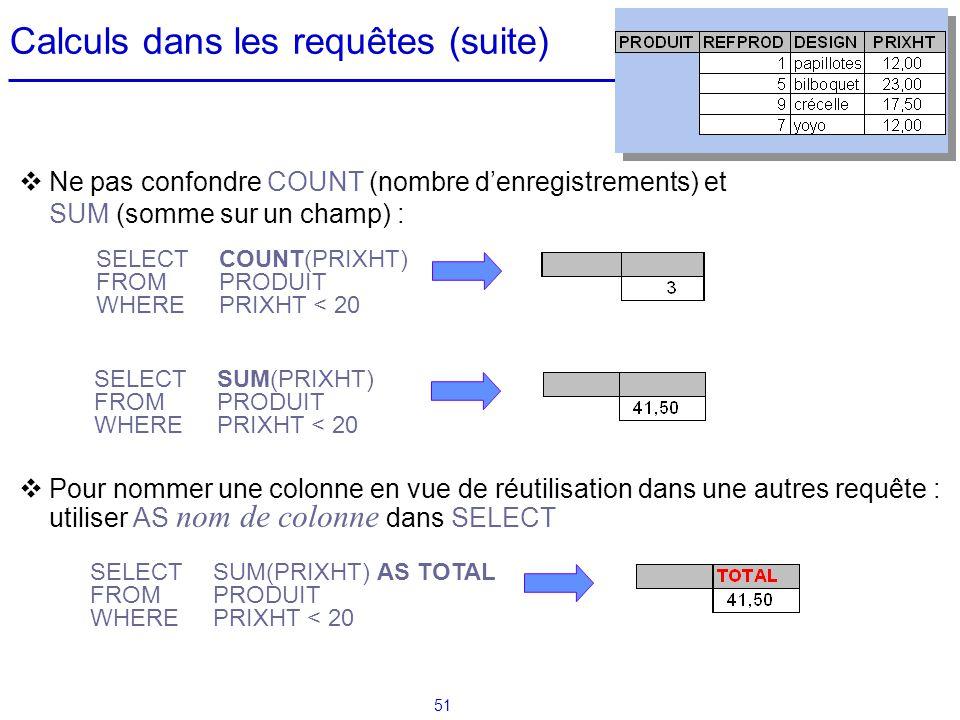 Calculs dans les requêtes (suite)