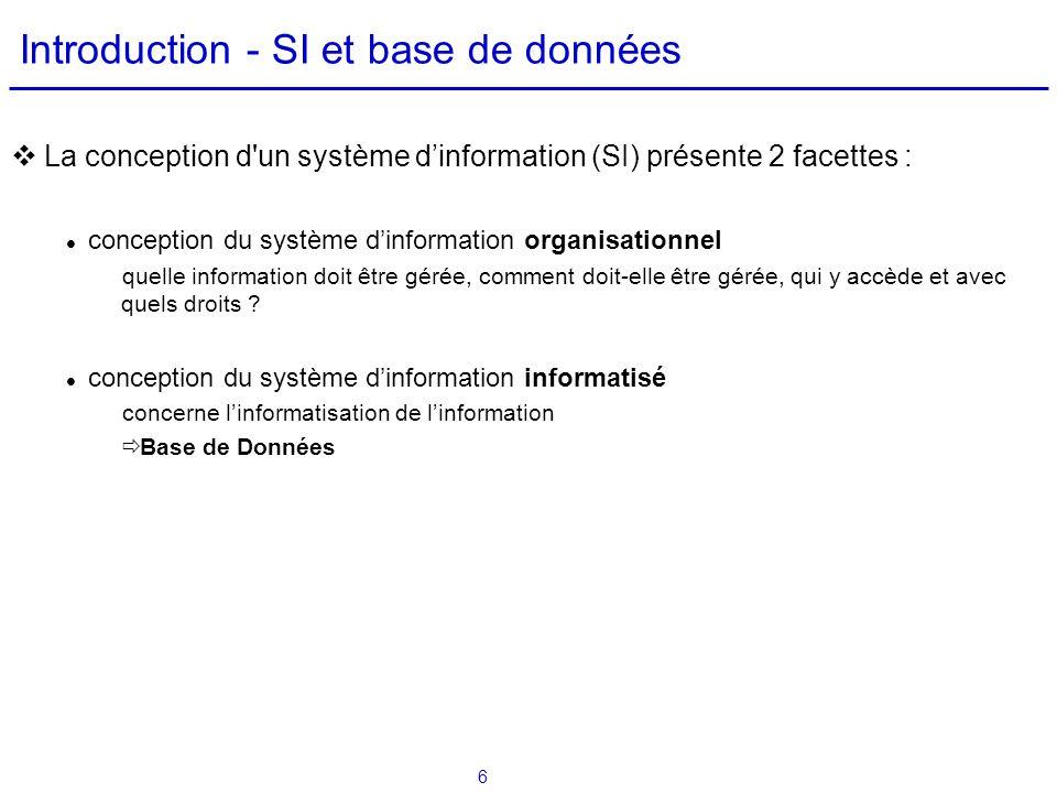 Introduction - SI et base de données