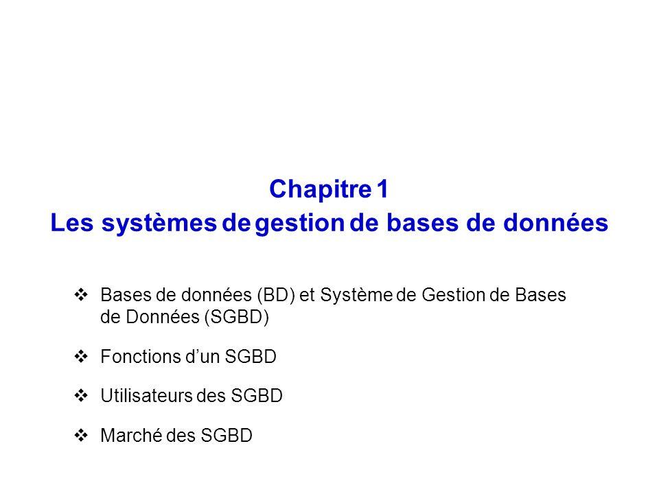Chapitre 1 Les systèmes de gestion de bases de données