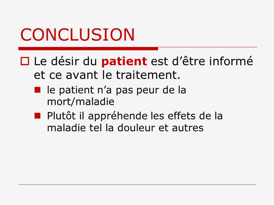 CONCLUSION Le désir du patient est d'être informé et ce avant le traitement. le patient n'a pas peur de la mort/maladie.