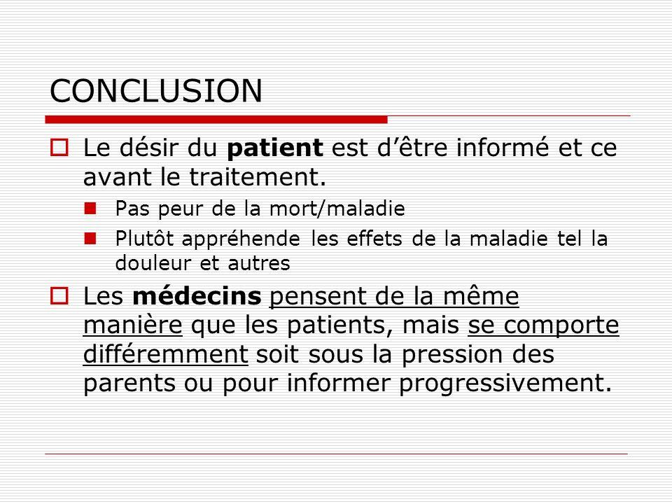 CONCLUSION Le désir du patient est d'être informé et ce avant le traitement. Pas peur de la mort/maladie.