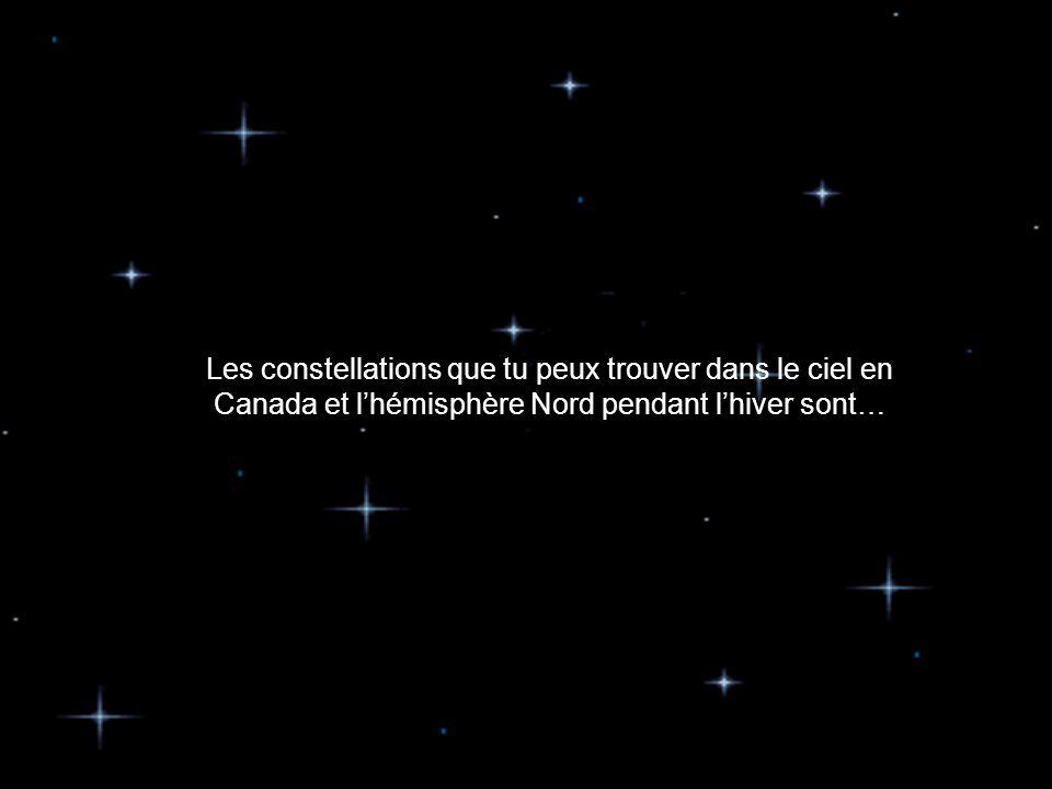 Les constellations que tu peux trouver dans le ciel en Canada et l'hémisphère Nord pendant l'hiver sont…