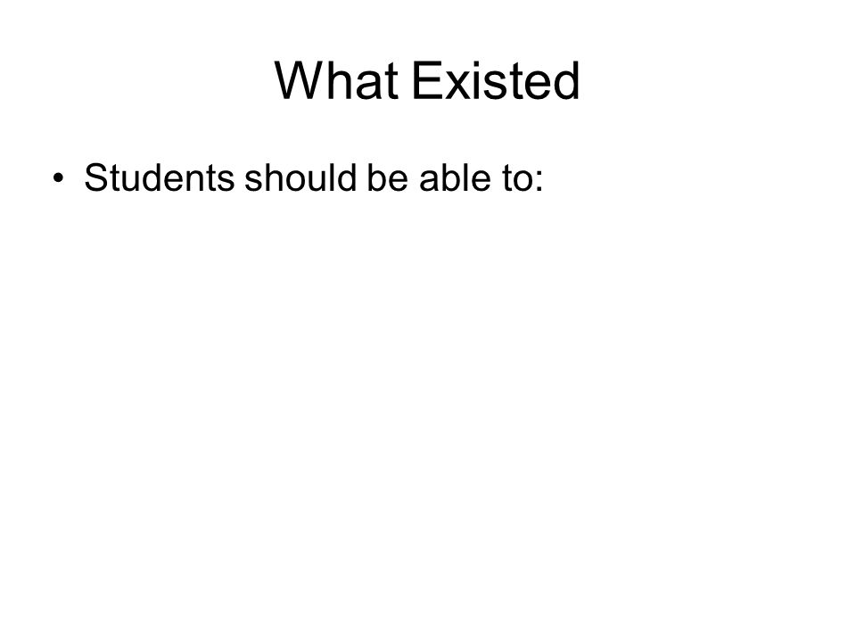 What Existed Students should be able to: