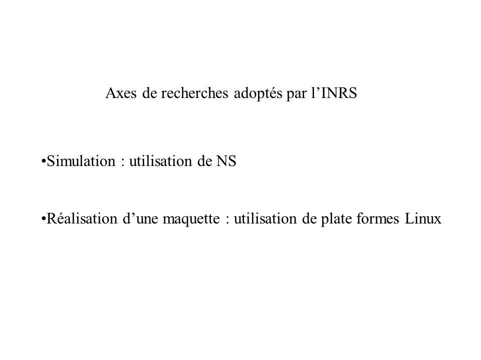 Axes de recherches adoptés par l'INRS