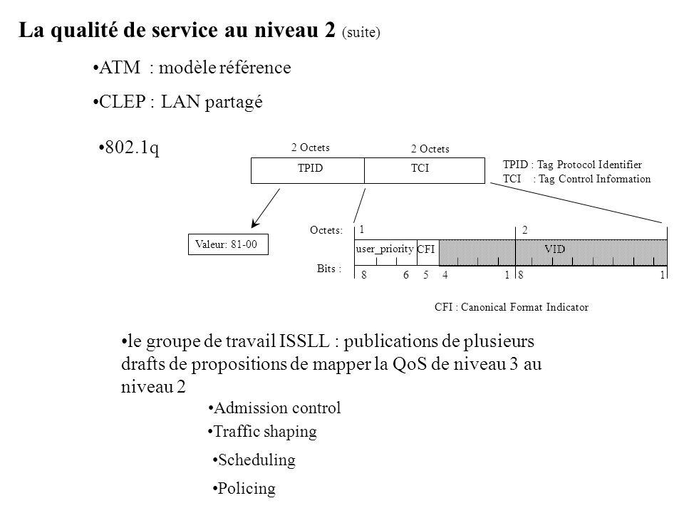 La qualité de service au niveau 2 (suite)