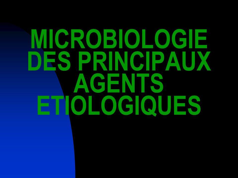 MICROBIOLOGIE DES PRINCIPAUX AGENTS ETIOLOGIQUES