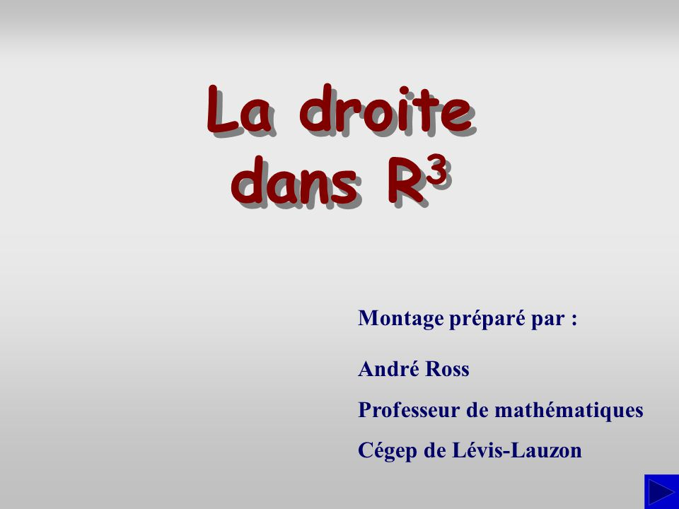 La droite dans R3 Montage préparé par : André Ross