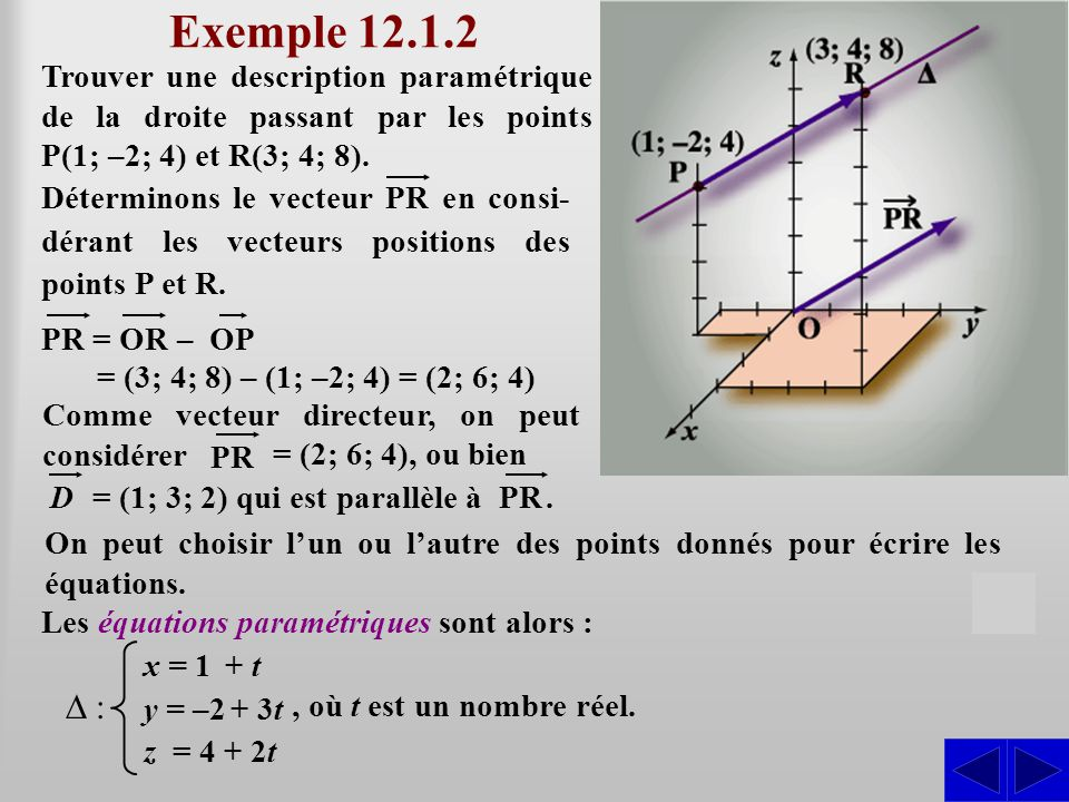 Exemple 12.1.2 Trouver une description paramétrique de la droite passant par les points P(1; –2; 4) et R(3; 4; 8).