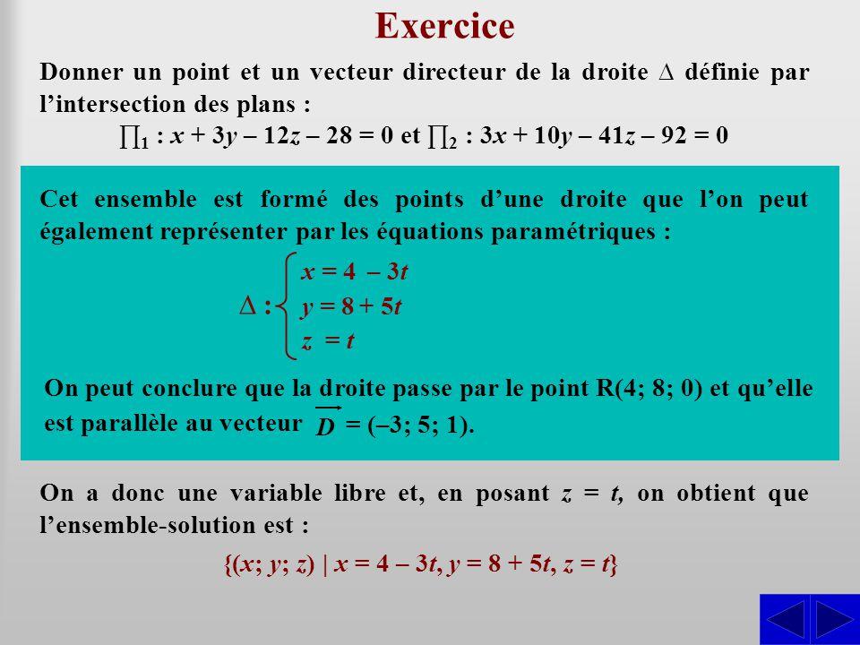 Exercice L1 ≈ L2 – 3L1 ∆ : S S L1 – 3L2 ≈ L2
