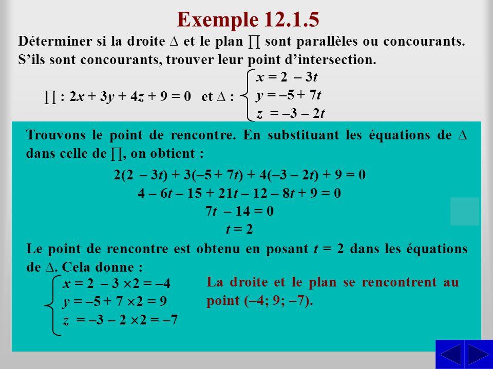 Exemple 12.1.5 Déterminer si la droite ∆ et le plan ∏ sont parallèles ou concourants. S'ils sont concourants, trouver leur point d'intersection.