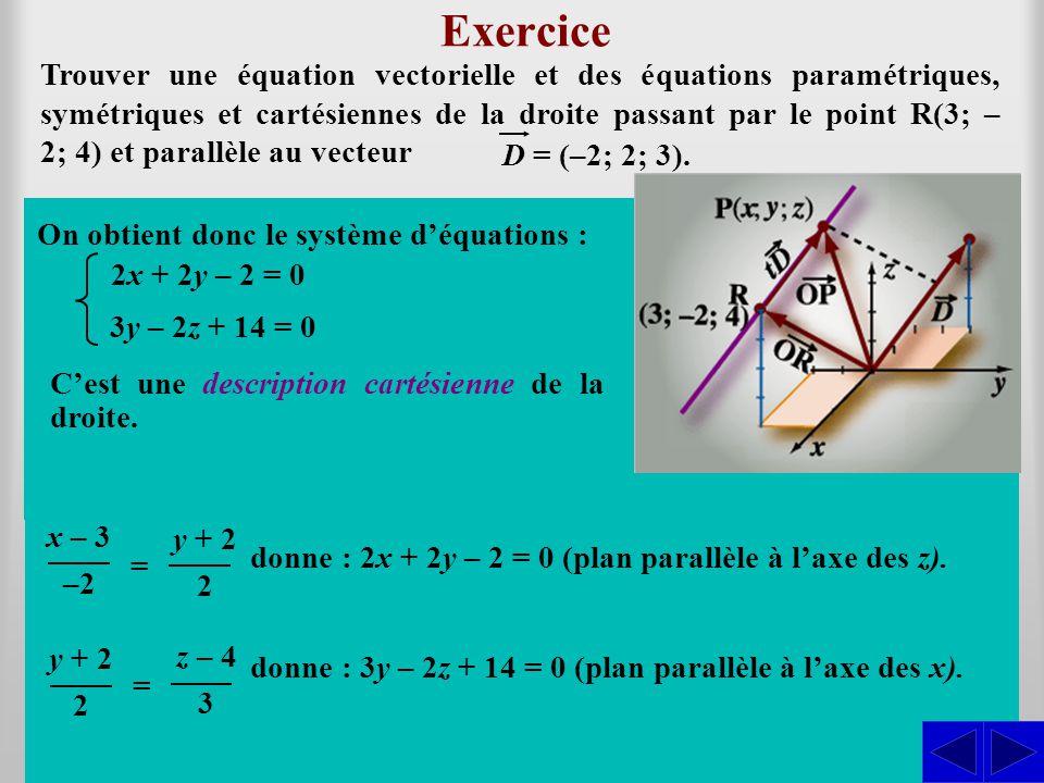 (x; y; z) = (3; –2; 4) + t (–2; 2; 3) = (3 – 2t; –2 + 2t; 4 + 3t)