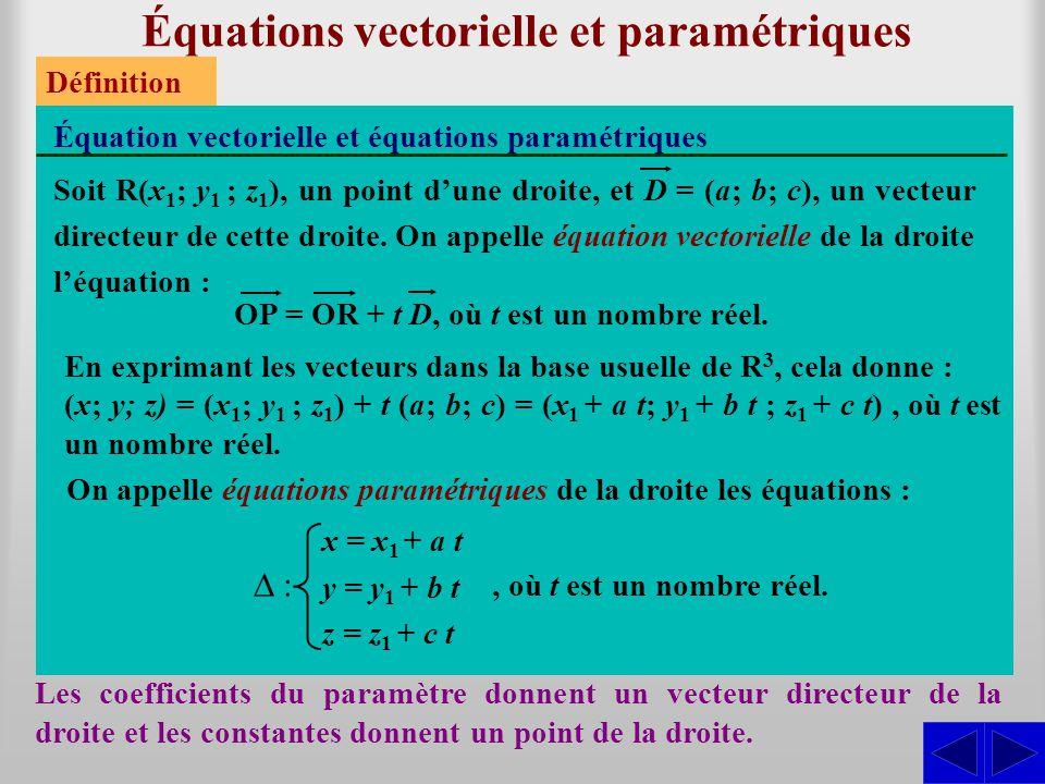 Équations vectorielle et paramétriques