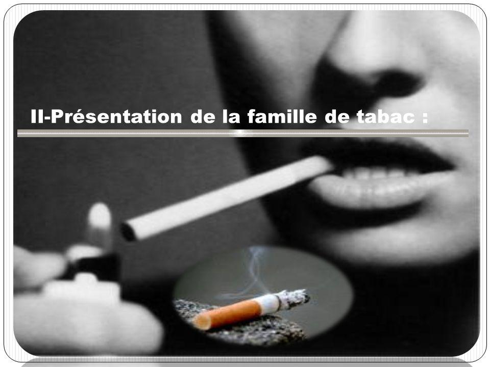 TOXIQUES II-Présentation de la famille de tabac :