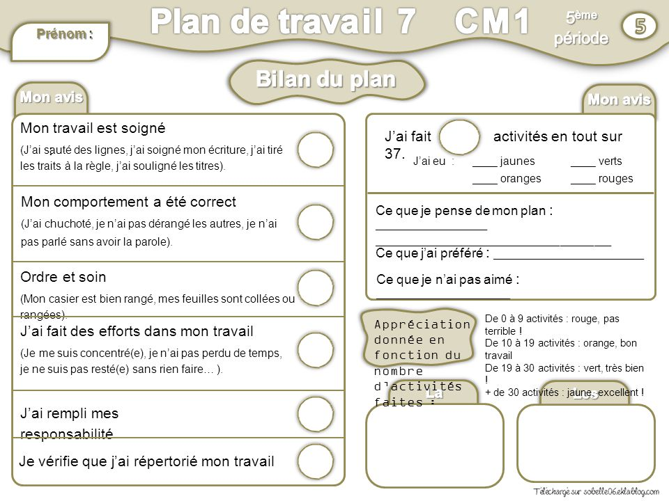 Plan de travail 7 CM1 5 Bilan du plan 5ème période Mon avis : Mon avis