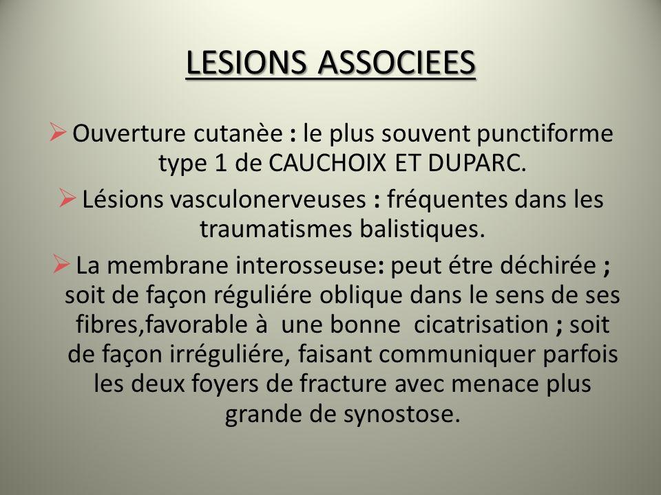 LESIONS ASSOCIEES Ouverture cutanèe : le plus souvent punctiforme type 1 de CAUCHOIX ET DUPARC.