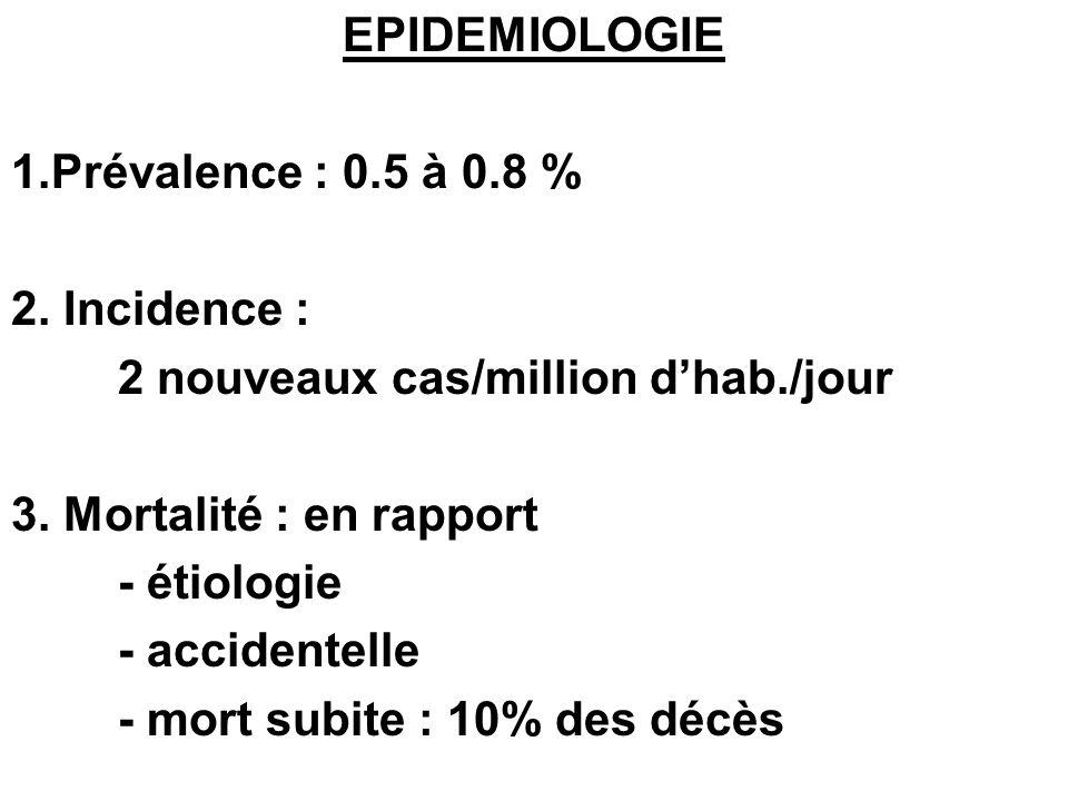 EPIDEMIOLOGIE1.Prévalence : 0.5 à 0.8 % 2. Incidence : 2 nouveaux cas/million d'hab./jour. 3. Mortalité : en rapport.