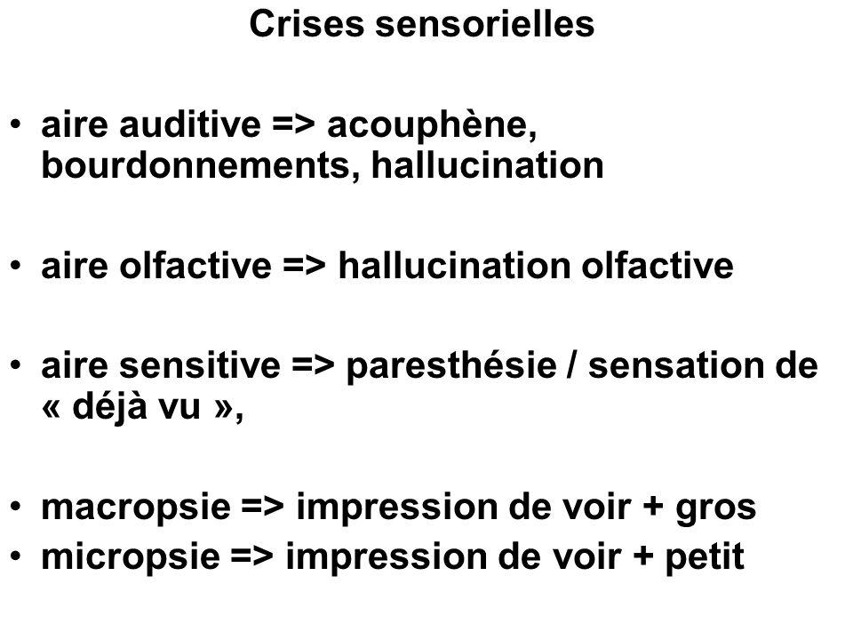 Crises sensorielles aire auditive => acouphène, bourdonnements, hallucination. aire olfactive => hallucination olfactive.