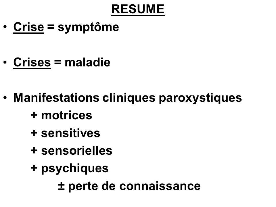 RESUME Crise = symptôme. Crises = maladie. Manifestations cliniques paroxystiques. + motrices. + sensitives.