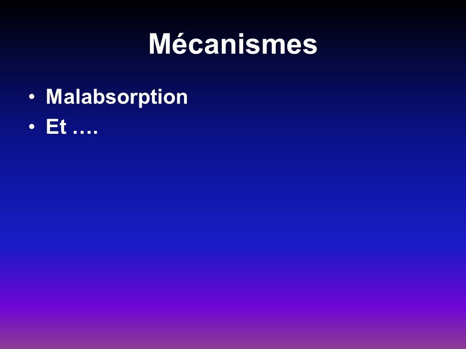 Mécanismes Malabsorption Et ….