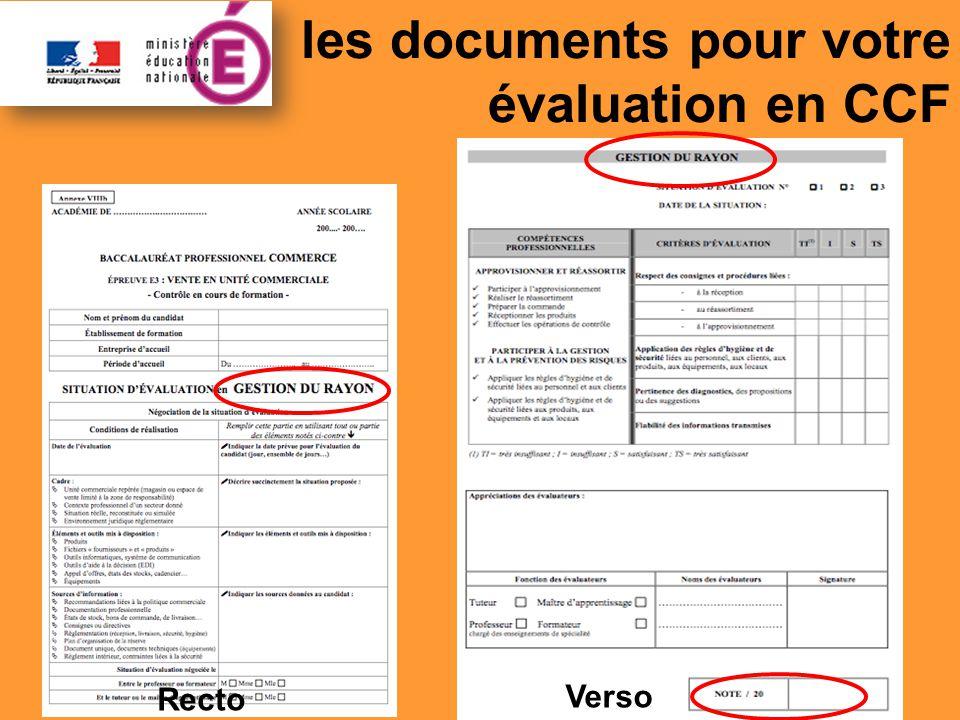 les documents pour votre évaluation en CCF