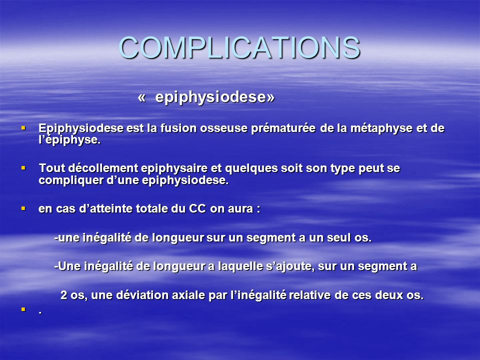 COMPLICATIONS « epiphysiodese»