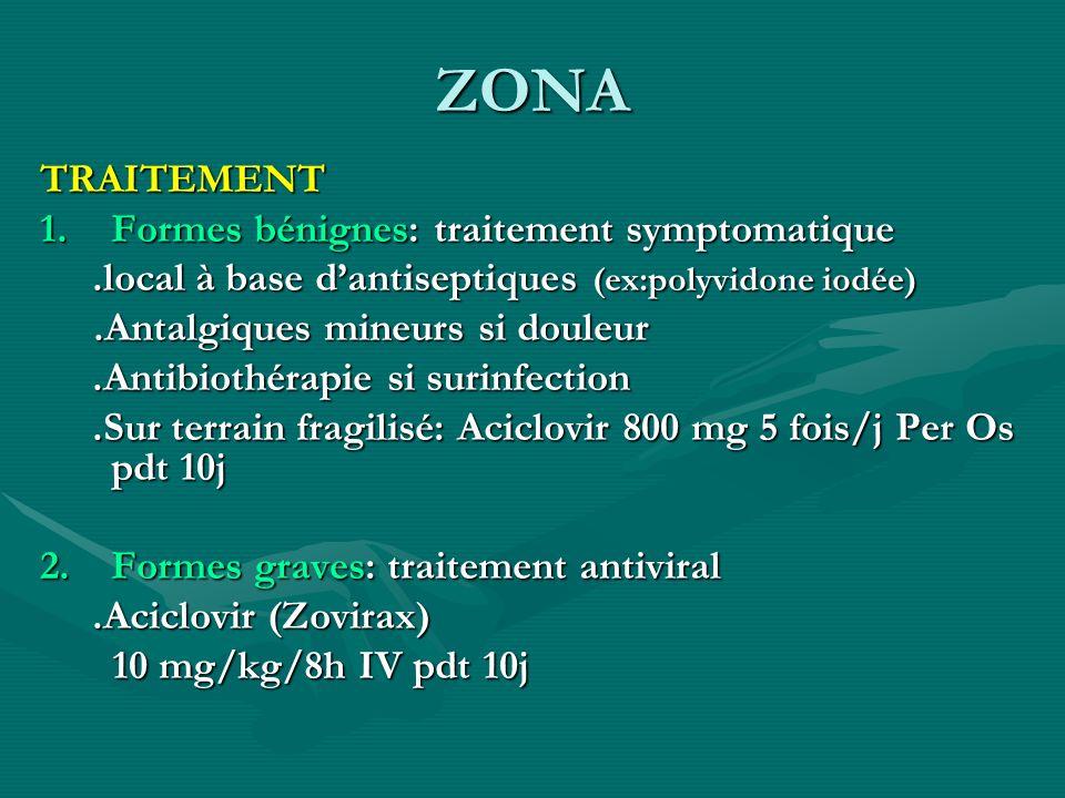 ZONA TRAITEMENT Formes bénignes: traitement symptomatique