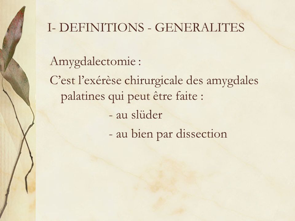 I- DEFINITIONS - GENERALITES