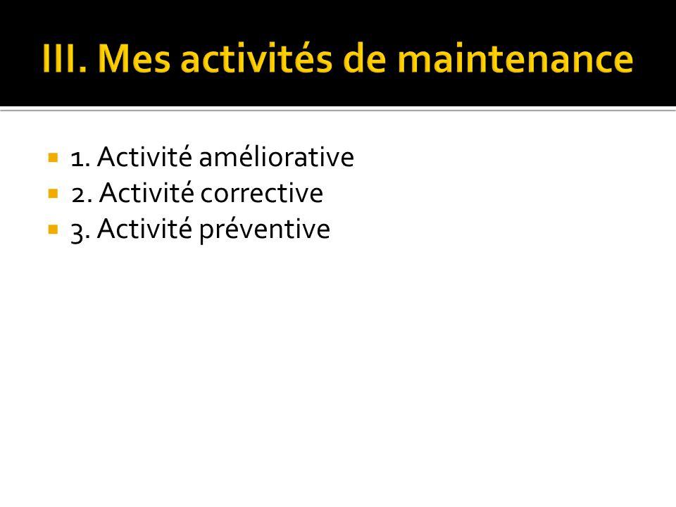 III. Mes activités de maintenance